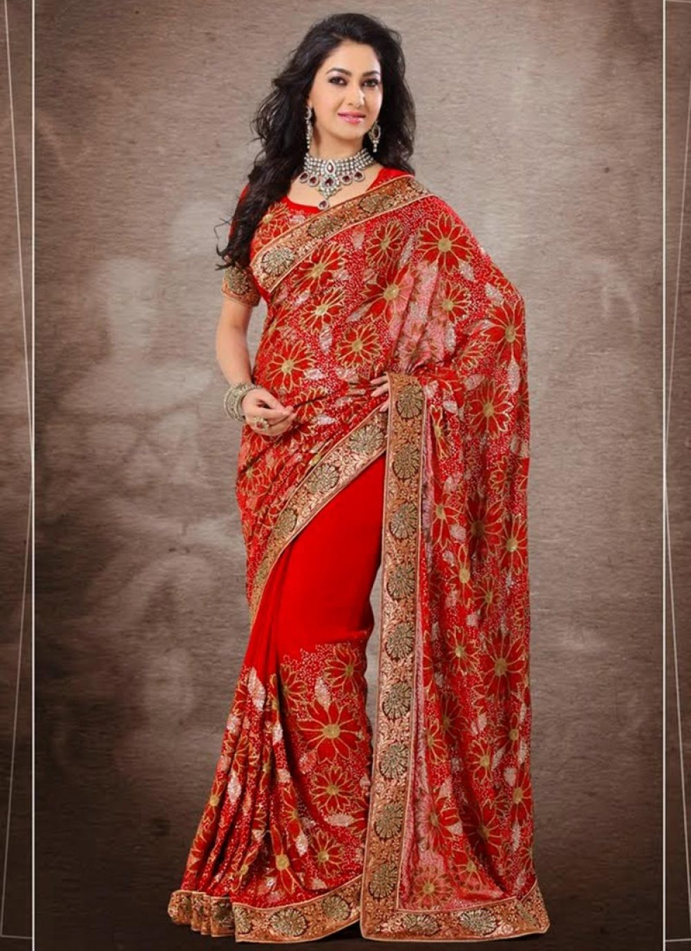 Red Shaded Fancy Border Work Georgette Saree