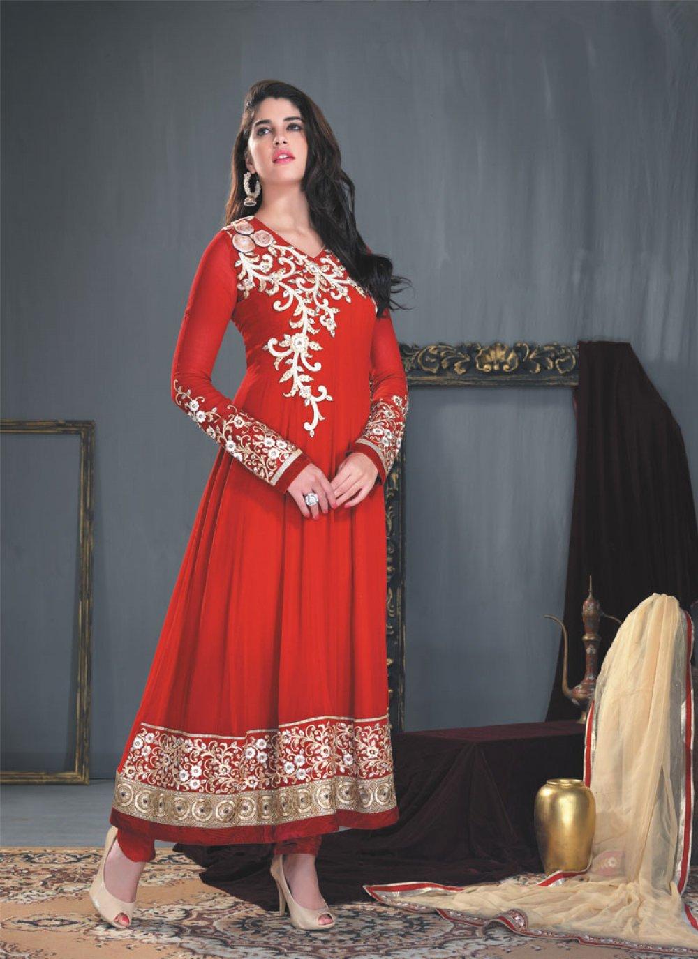 Red Stone Work Anarkali Salwar Kameez
