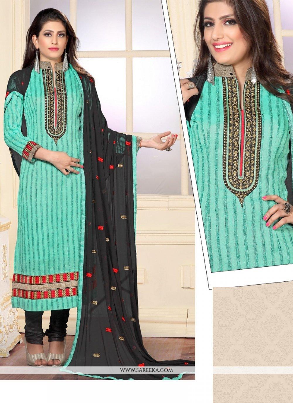 Resham Work Jute Silk Sea Green Designer Straight Salwar Kameez
