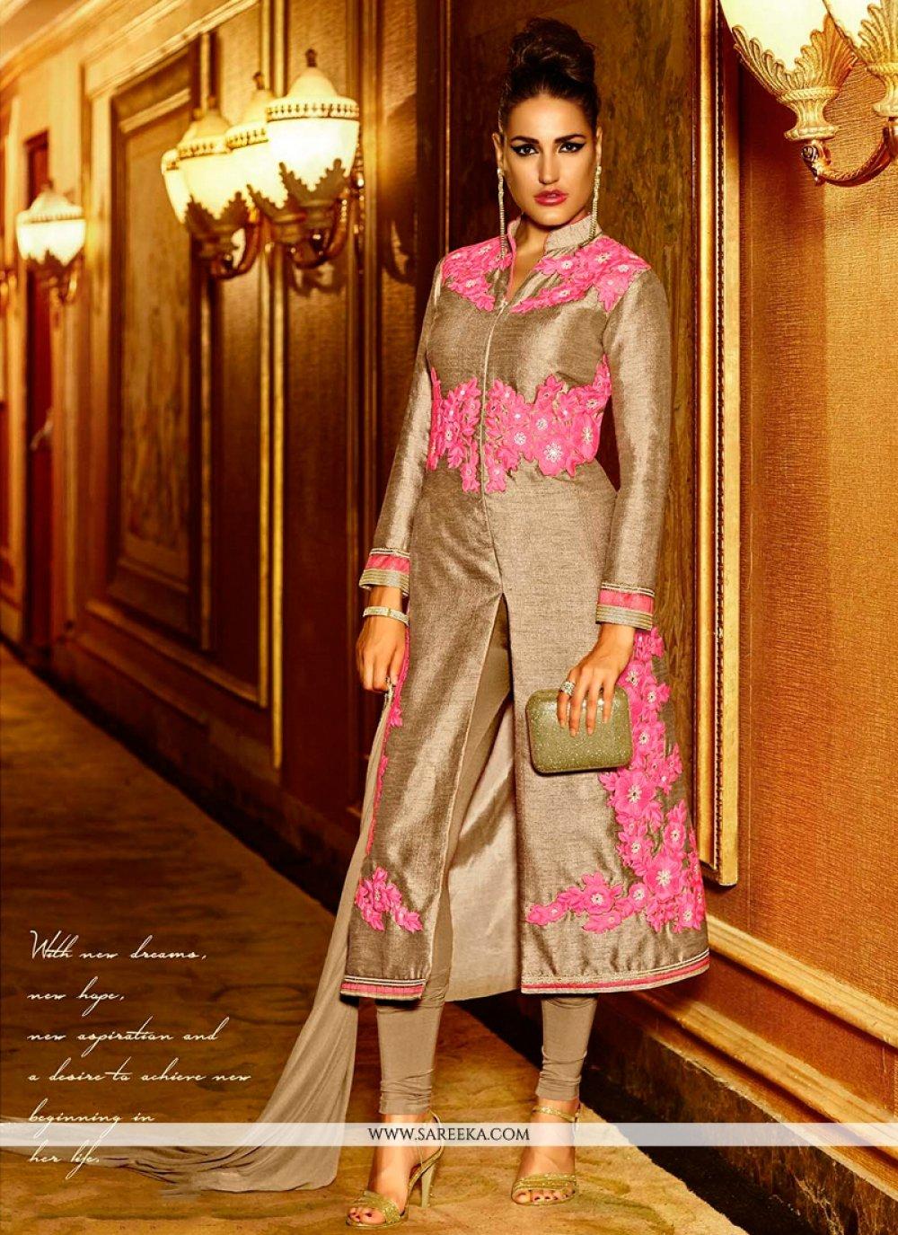 Resham Work Pink Silk Designer Salwar Kameez