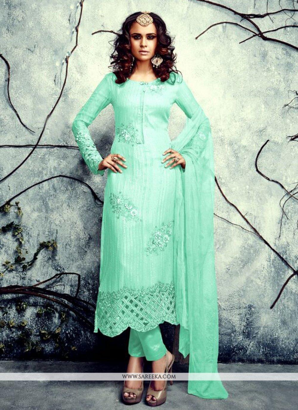 Resham Work Sea Green Designer Suit