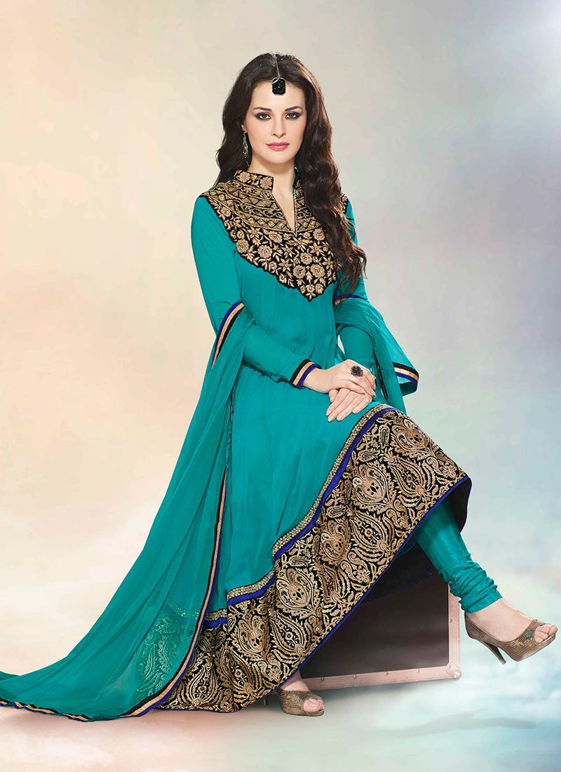 Sea Green Faux Georgette Anarkali Suit