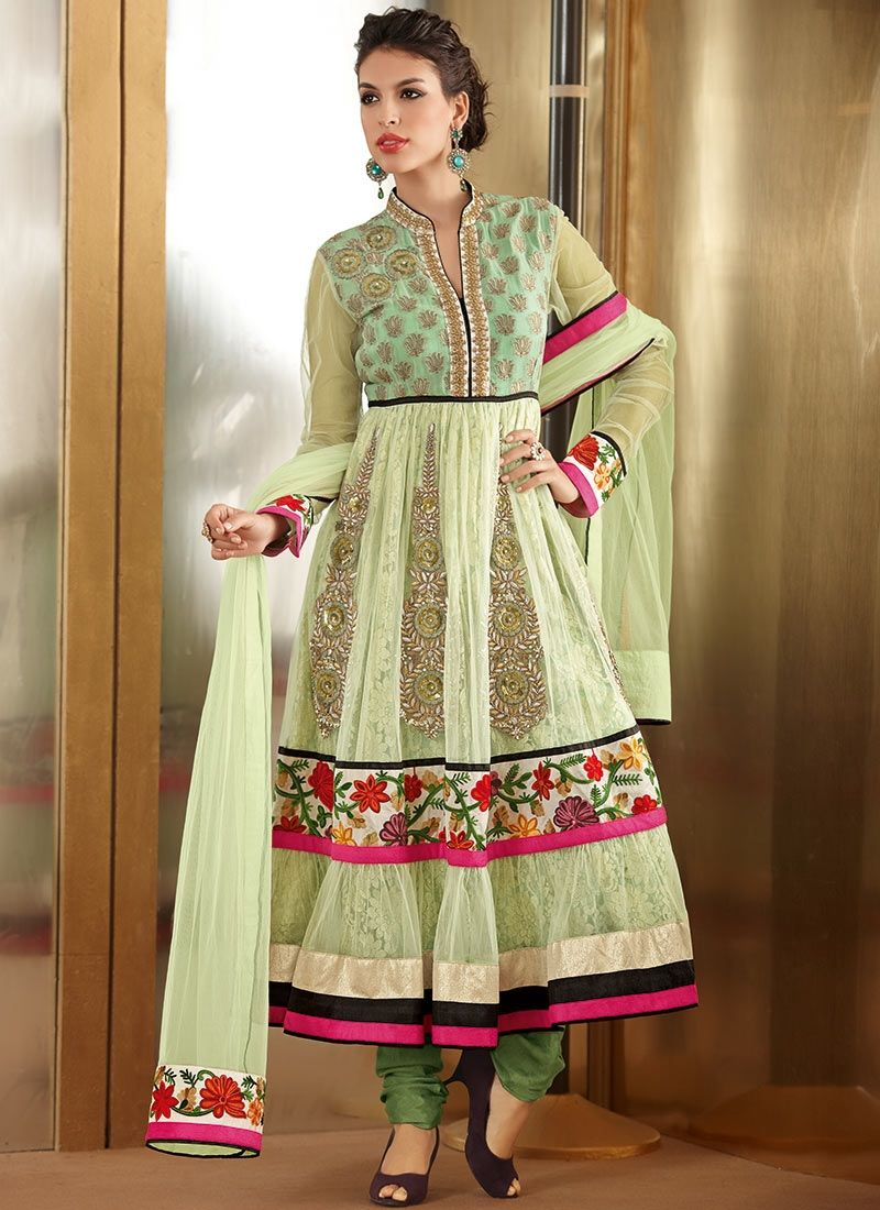 Sea Green Net Designer Anarkali Suit