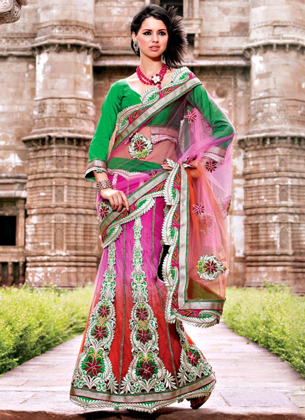 Shaded Lehenga Style Saree