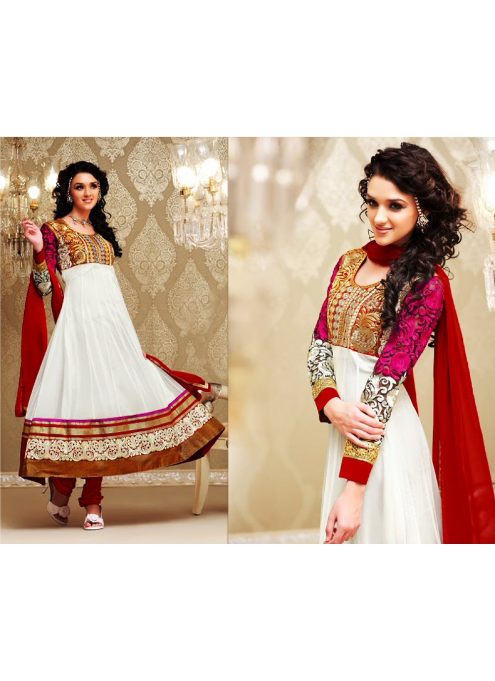 White Anarkali Suit