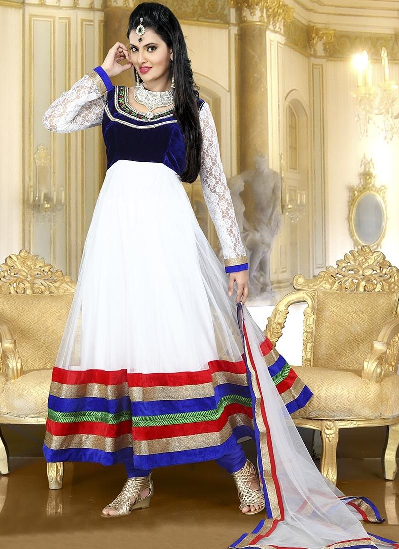 White Ankle Length Net Anarkali Suit