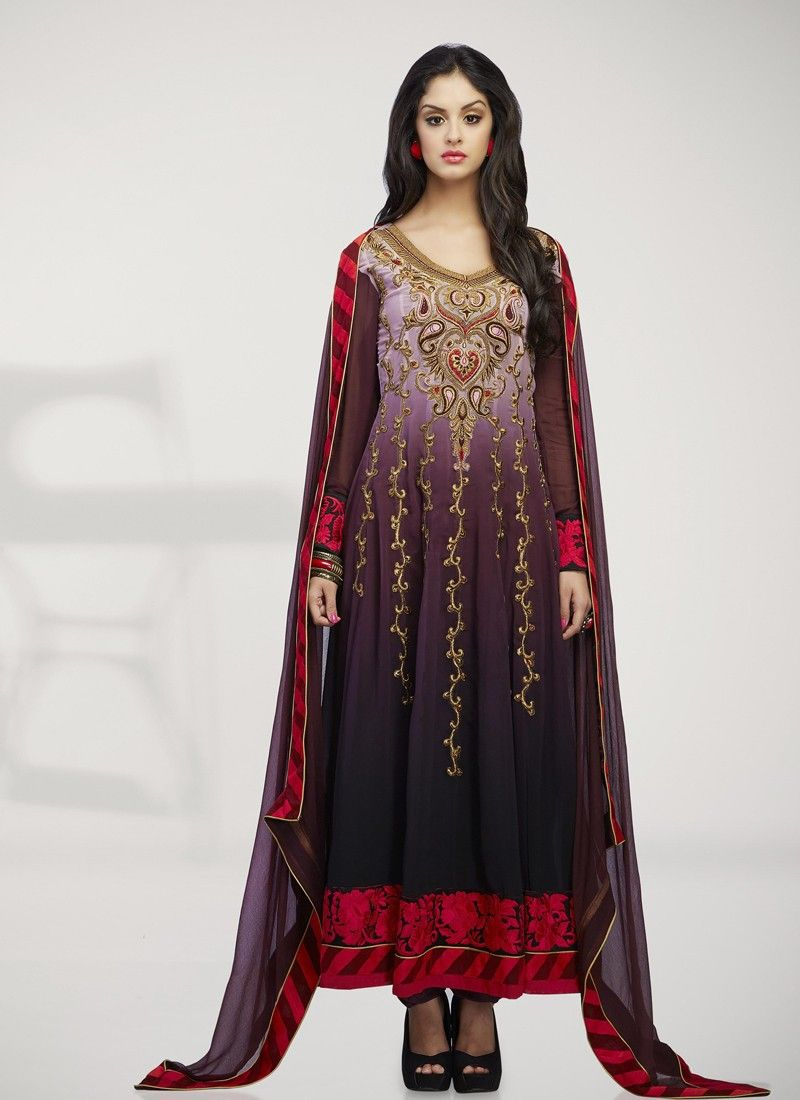 Wine Embroidery Work Anarkali Suit