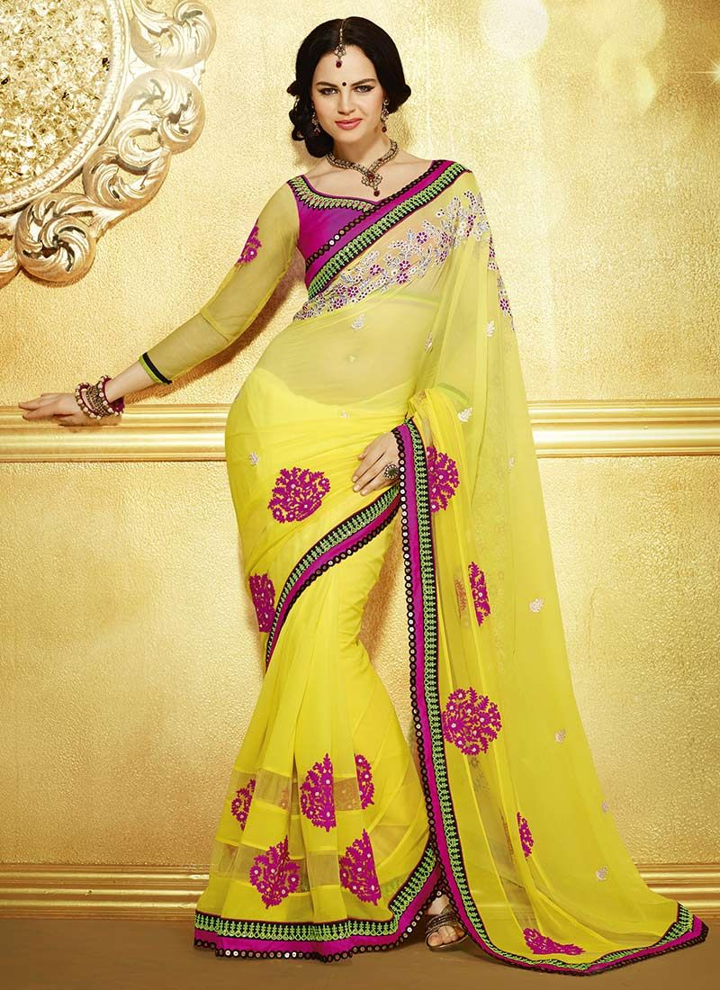 Yellow Appliques Worked Faux Georgette Saree