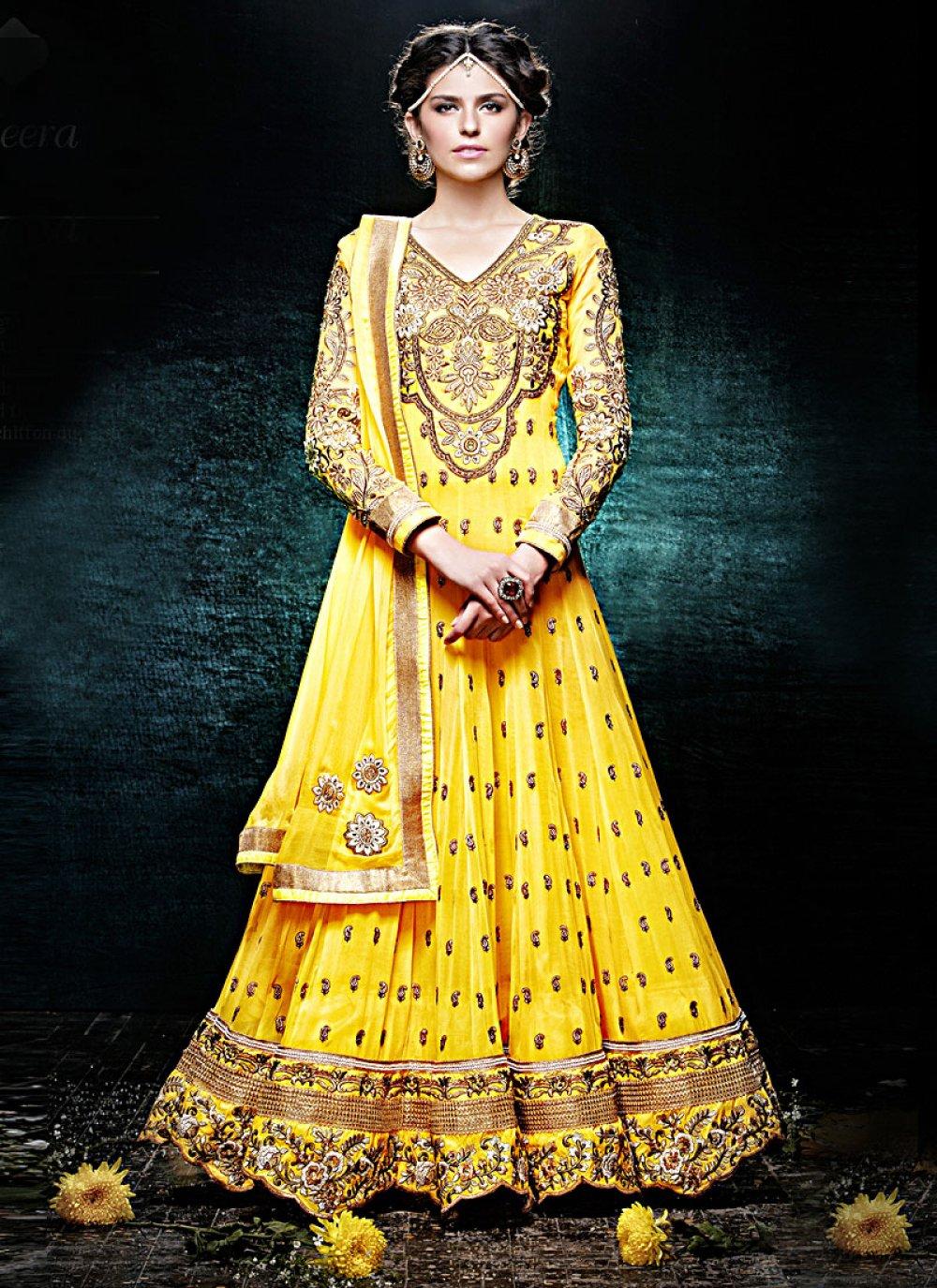 Yellow Faux Georgette Anarkali Suit