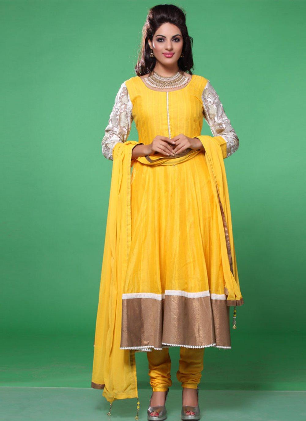 Yellow Lace Faux Georgette Anarkali Suit