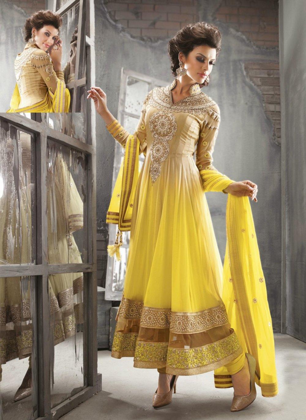 Yellow Resham Work Net Anarkali Salwar Suit