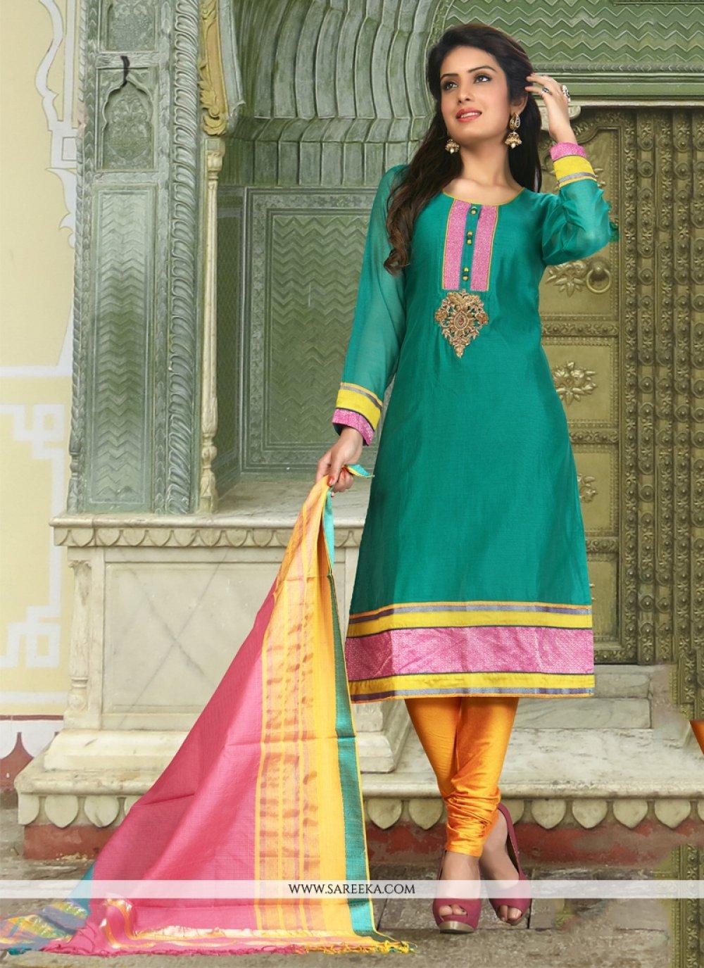 Art Silk Patch Border Work Designer Suit