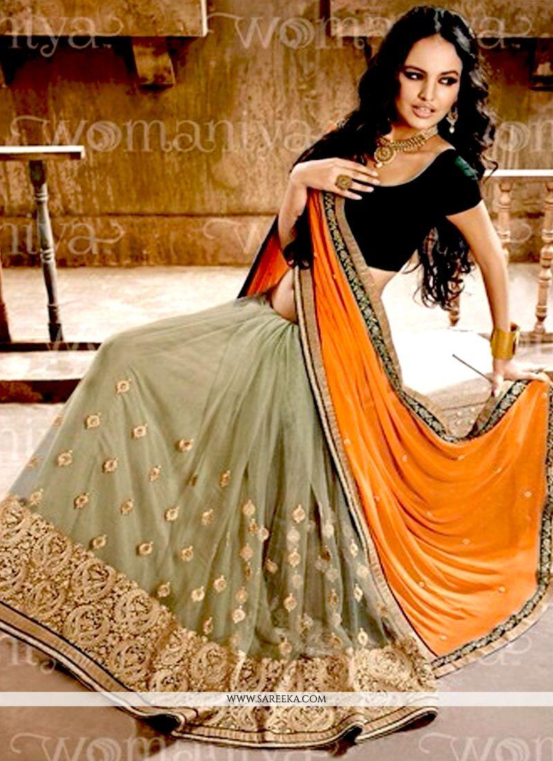 Faux Chiffon Orange and Sea Green Half N Half Designer Saree