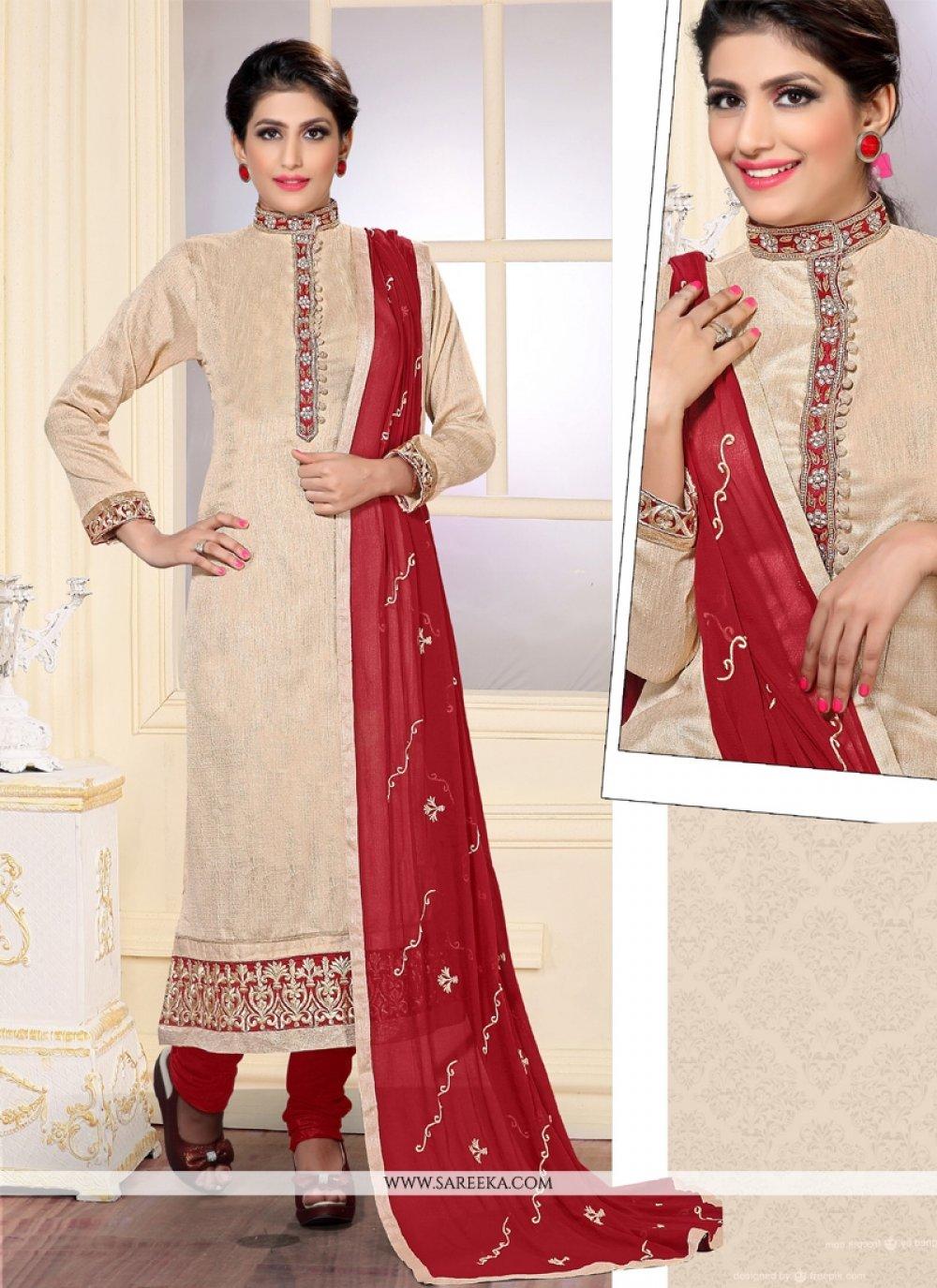 Resham Work Cream Jute Silk Designer Straight Salwar Kameez
