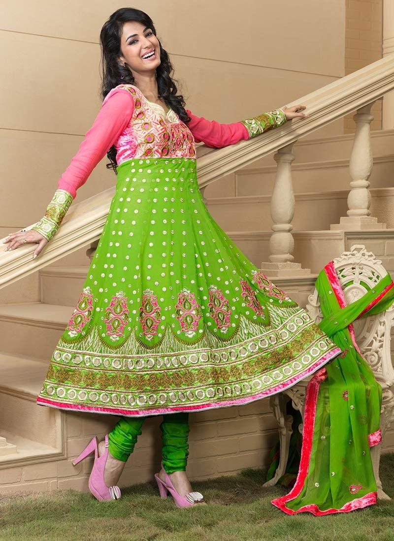 Aloe Vera Green & Deep Pink Salwar Kameez