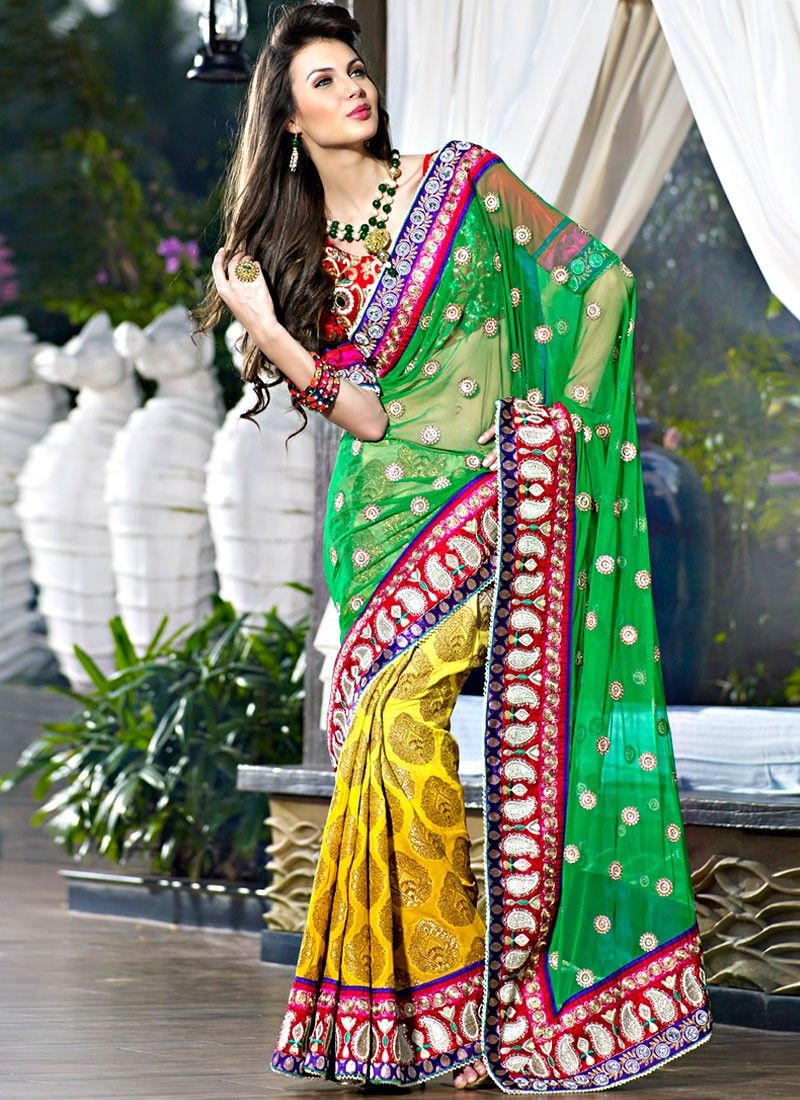 Bottle Green & Gold Color Embroidered Saree
