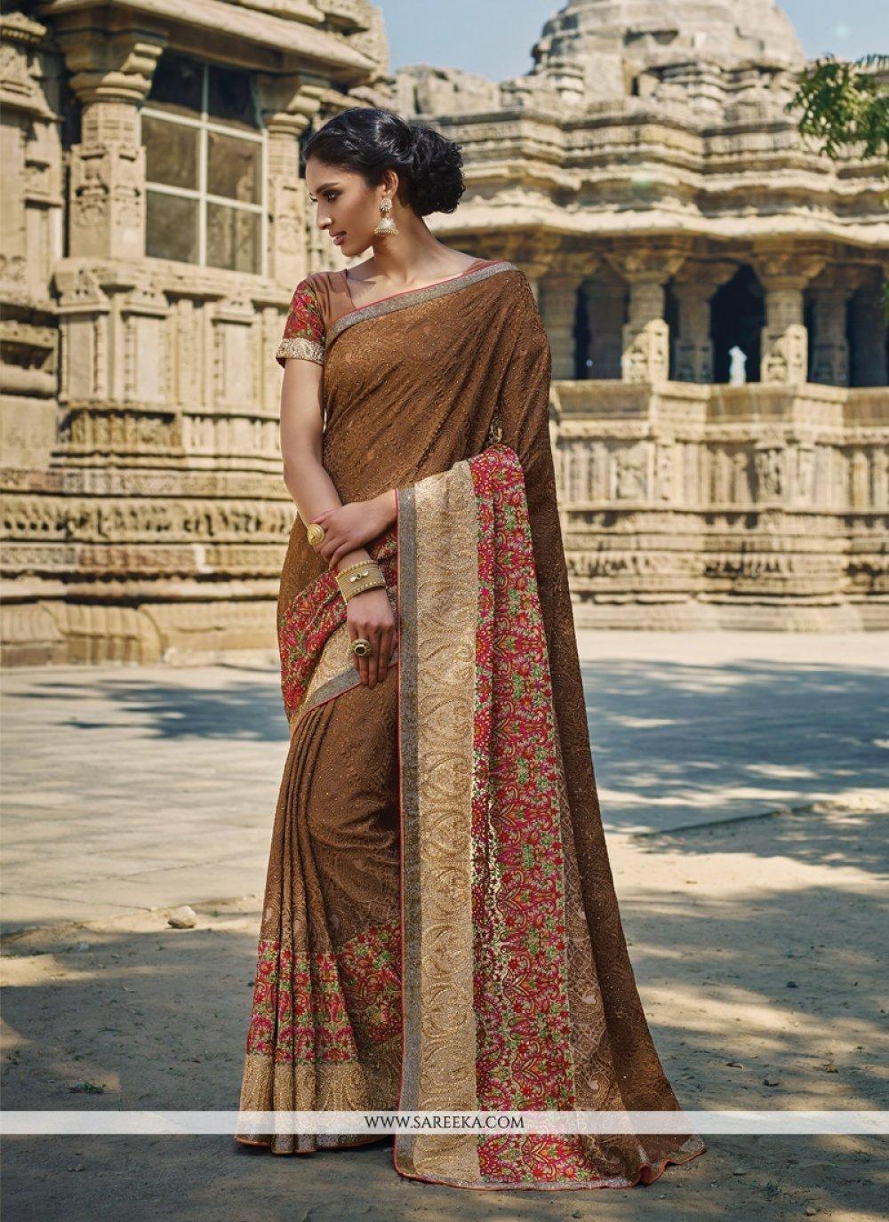Brown Bembarg Designer Saree