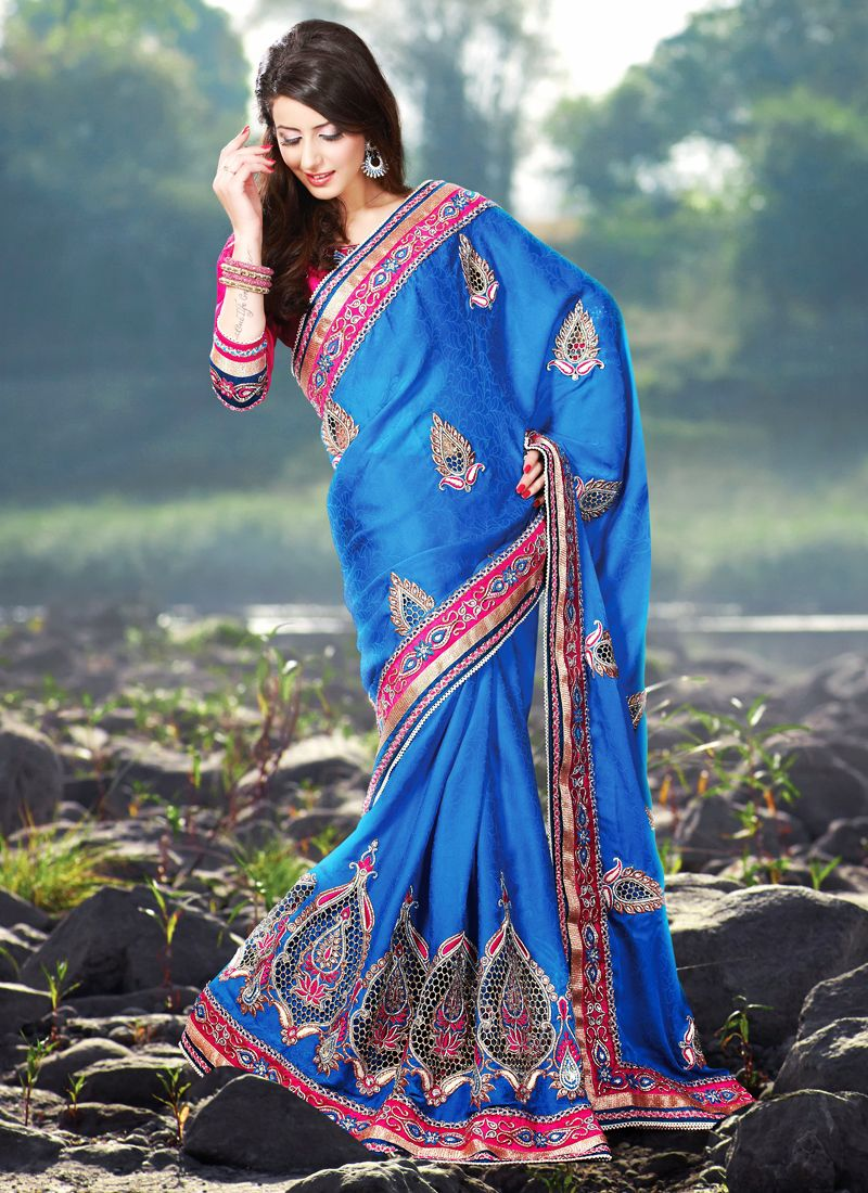 Deep Blue Embroidered Saree