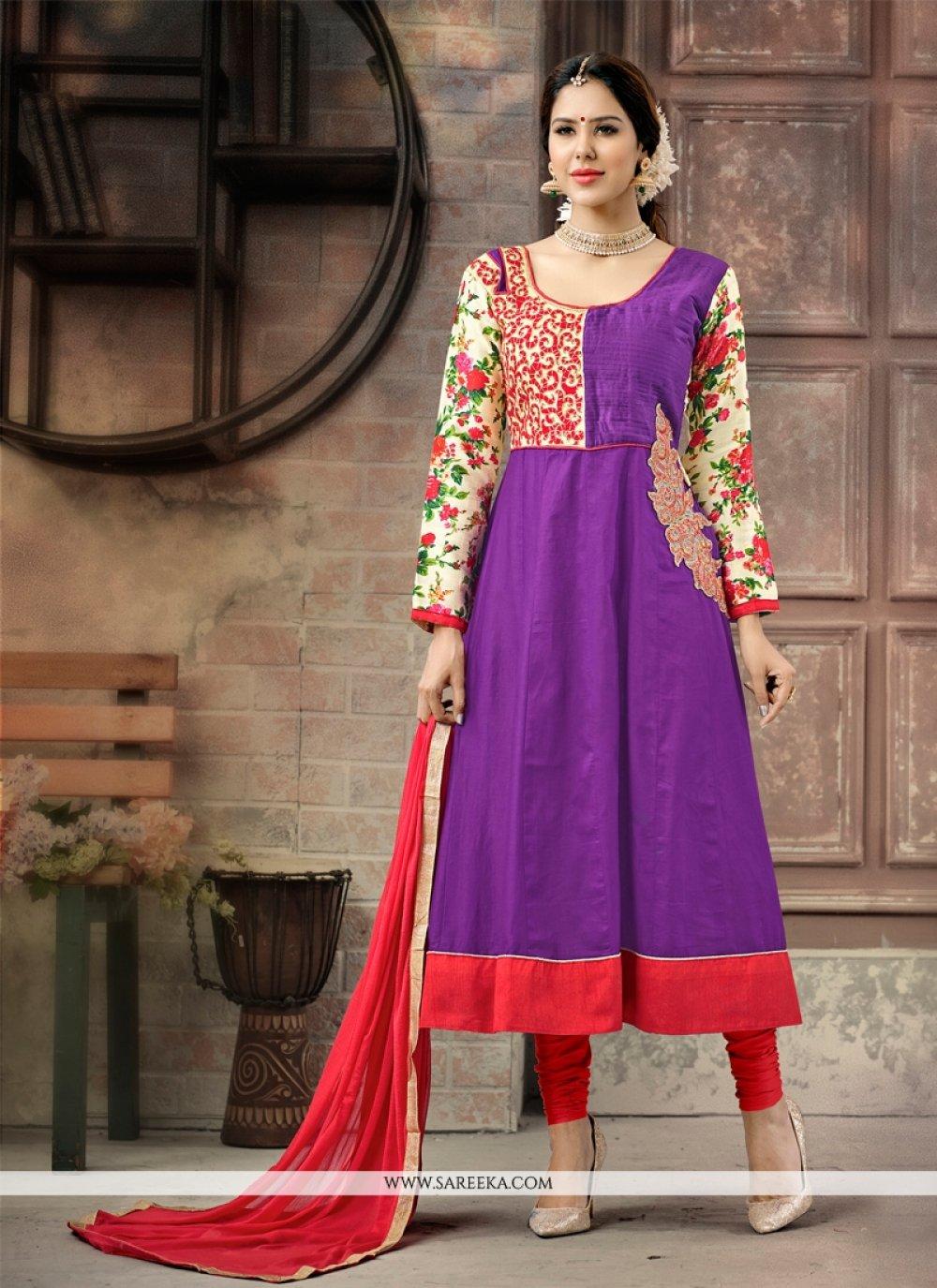 Embroidered Work Cotton   Anarkali Salwar Suit