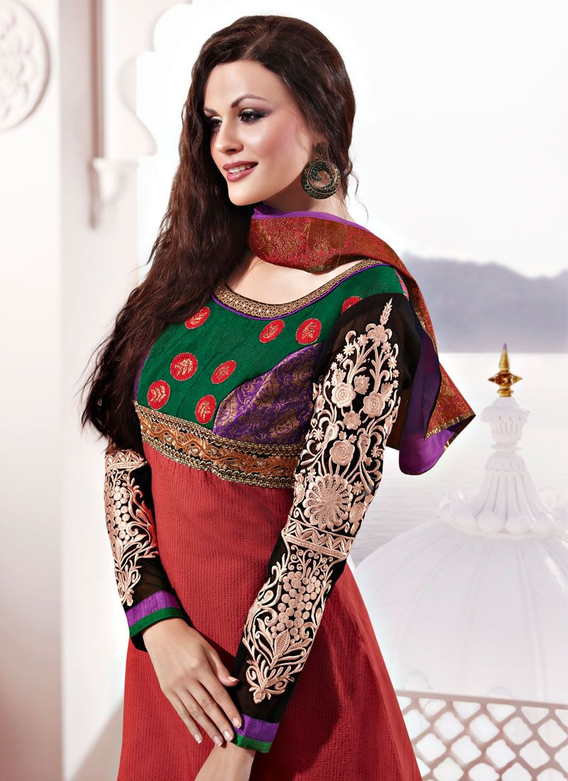 Maroon Chanderi Silk Churidar Suit