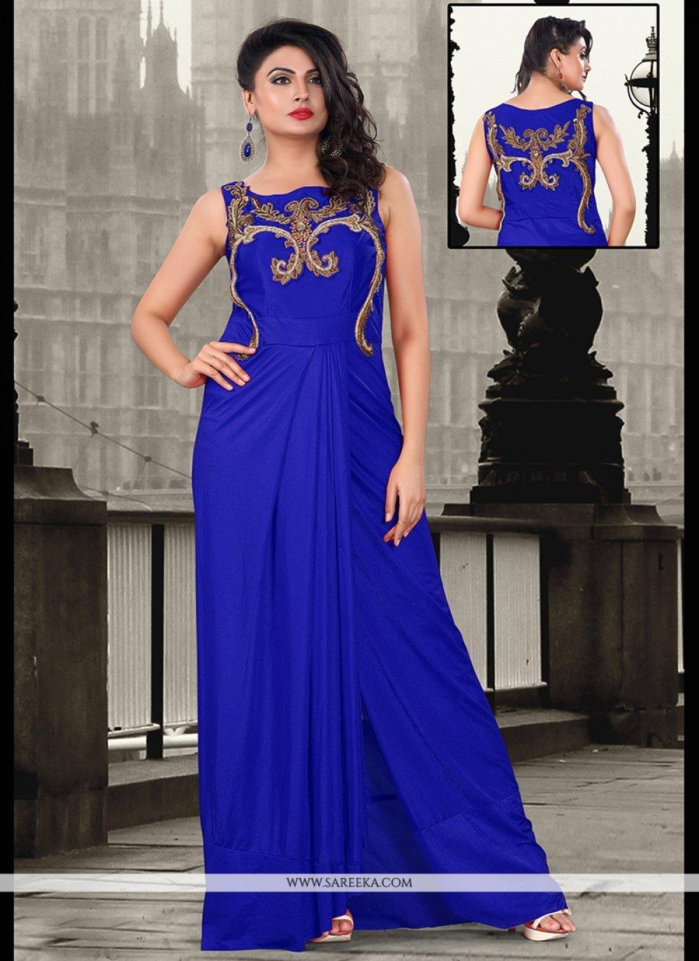Sequins Work Lycra Blue Floor Length Gown
