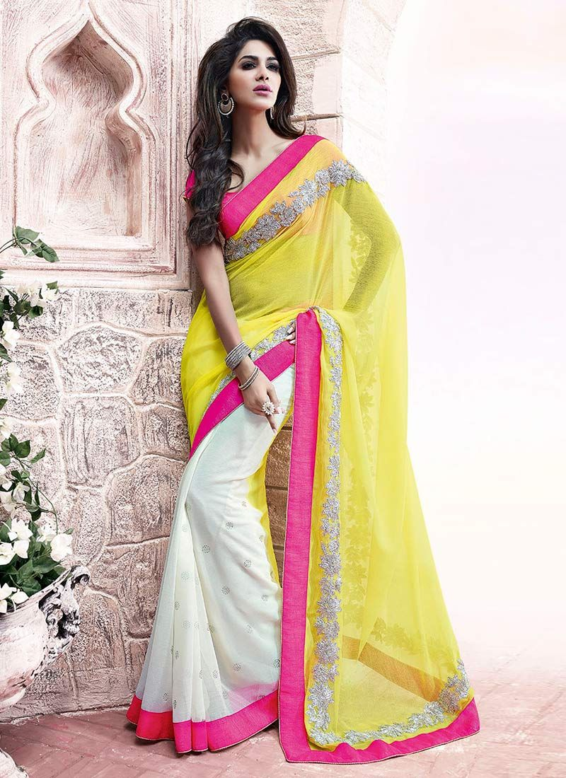 White And Yellow Patch Border Half And Half Saree