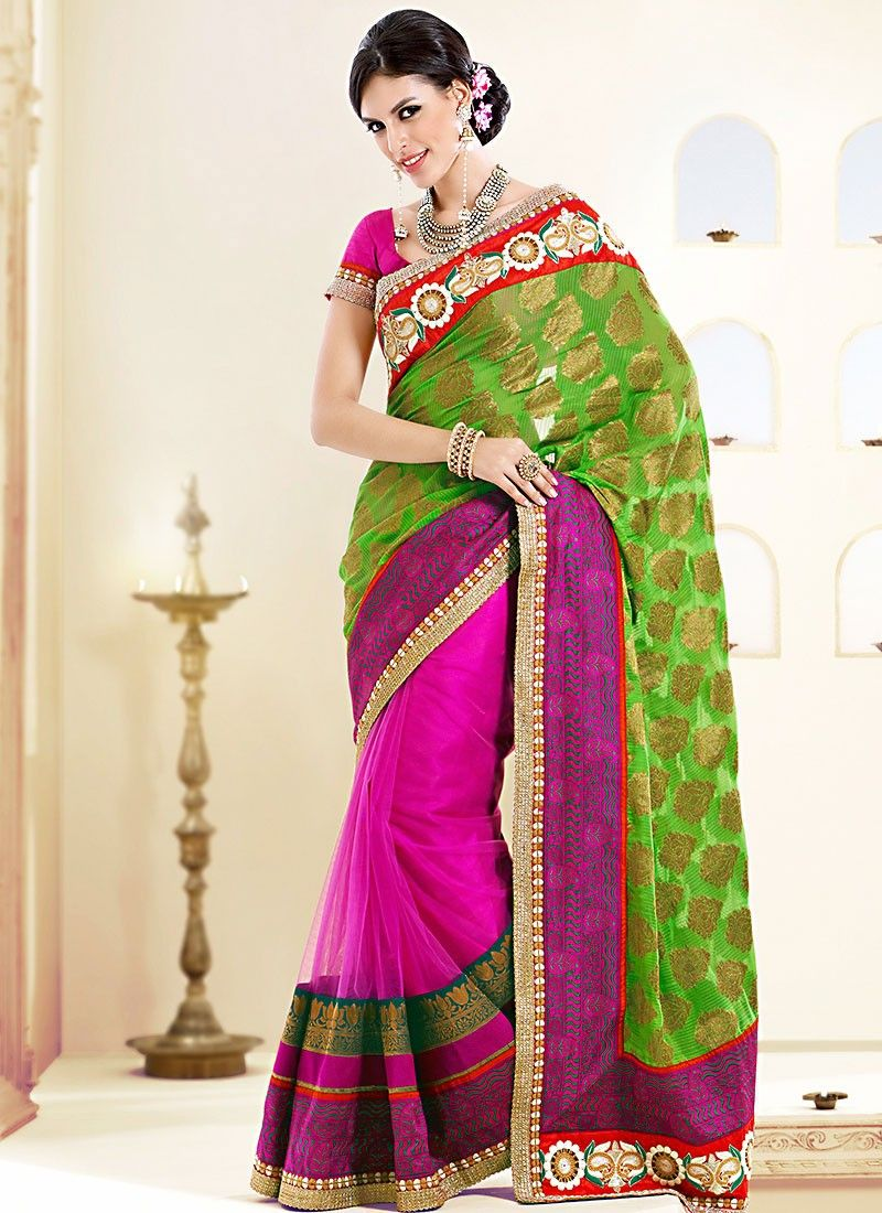 Classic Green Viscose Half And Half Saree