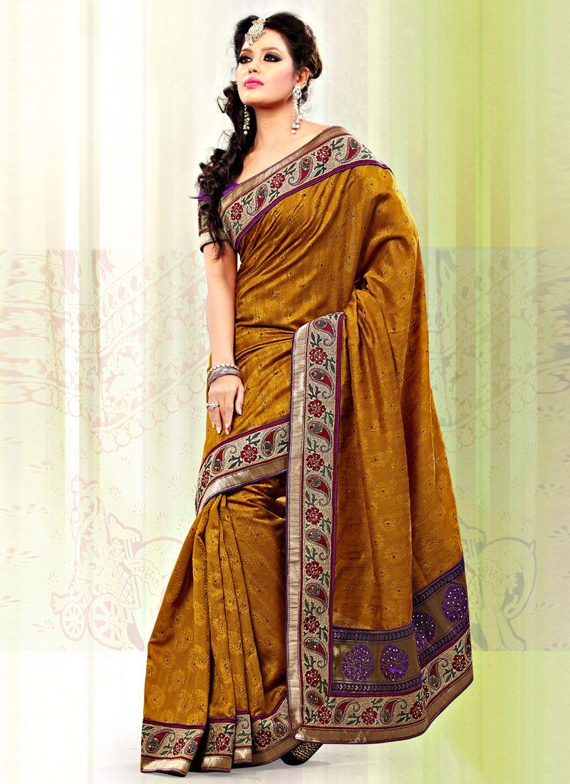 Classic Mustard Art Bhagalpuri Jacquard Silk Saree