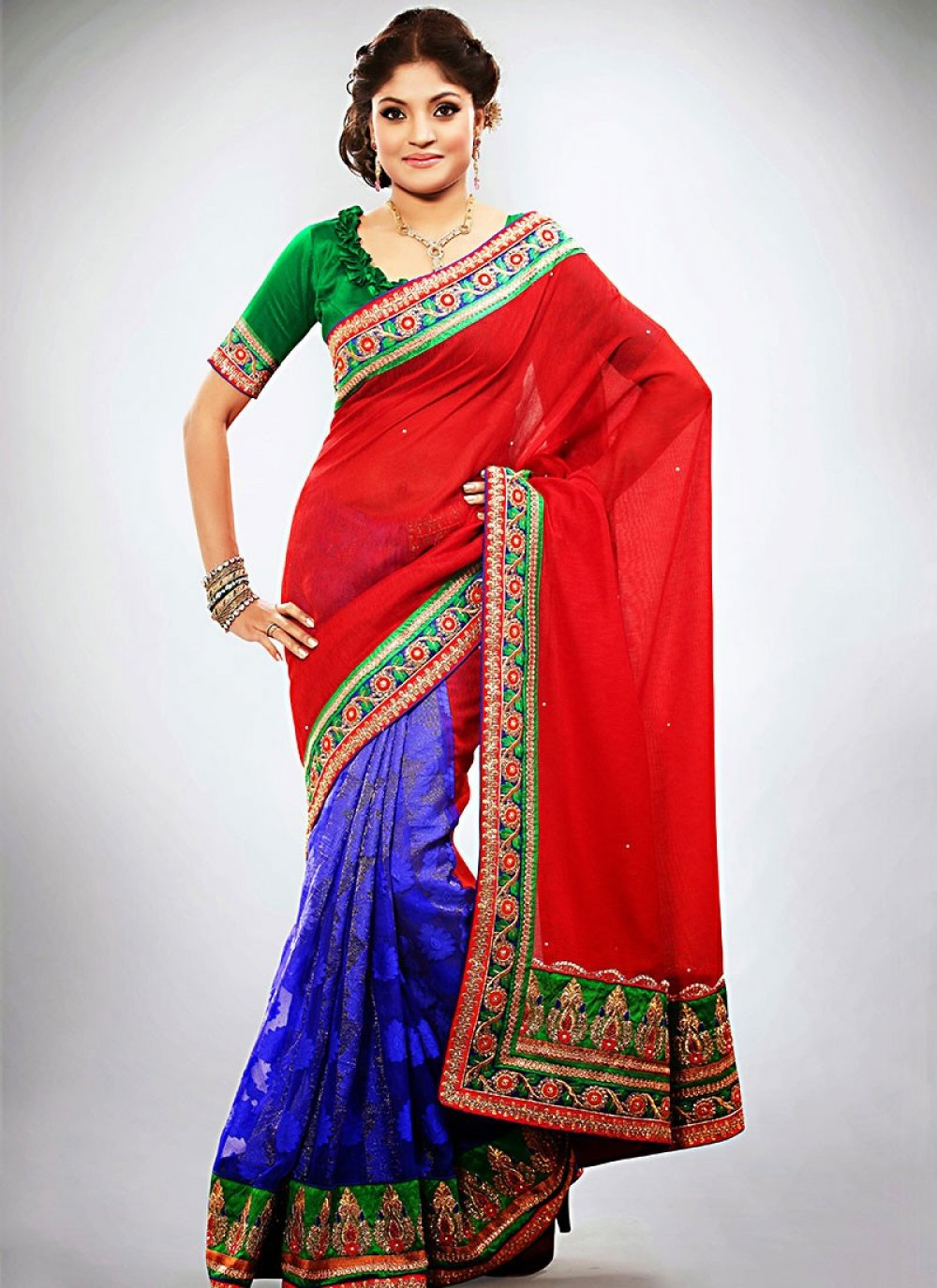 Classic Red And Blue Jacquard Half And Half Saree