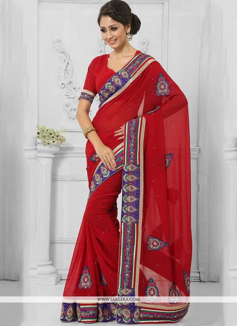 Embroidered Work Red Faux Chiffon Contemporary Saree