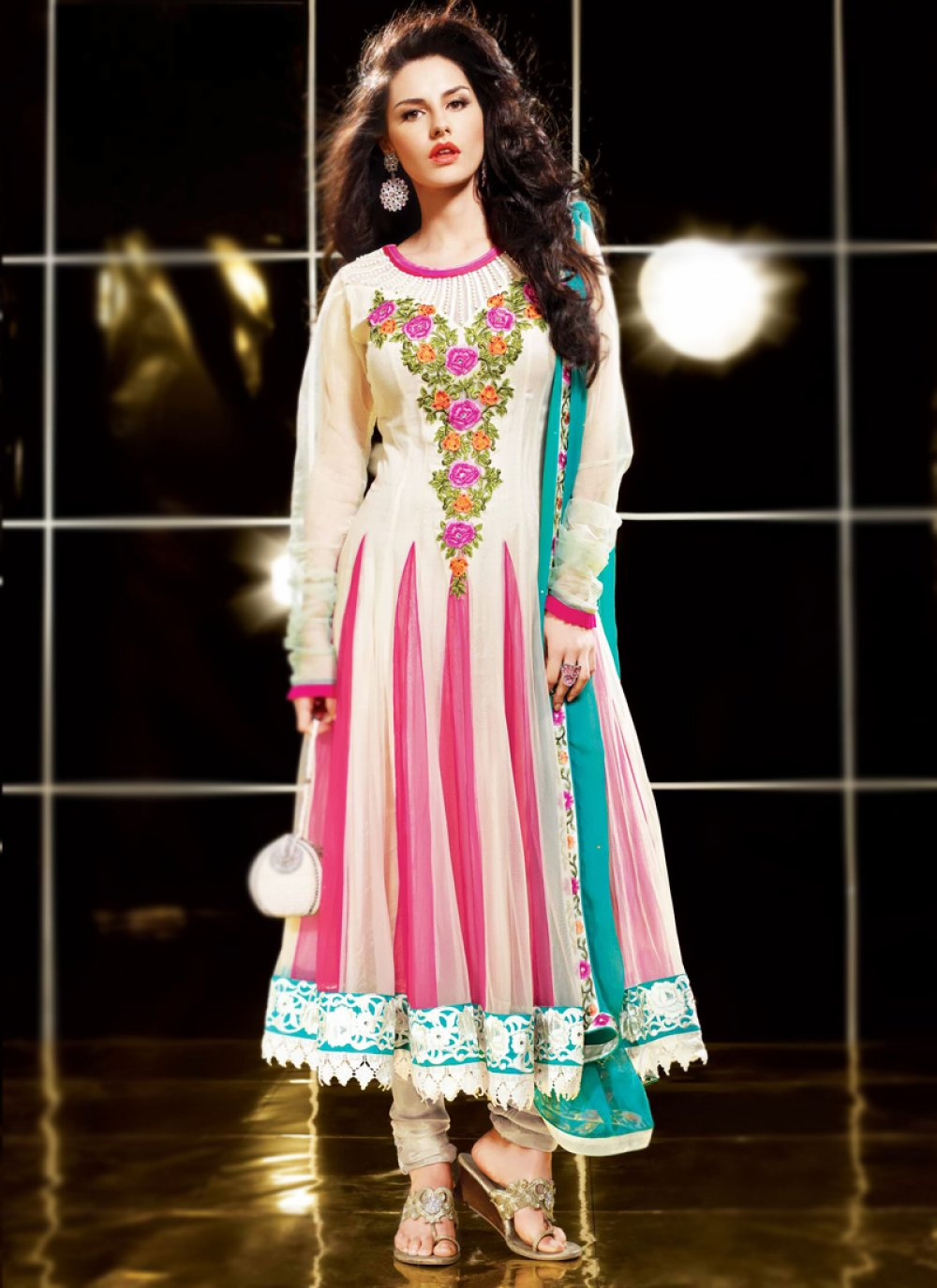 Bige Brown & Deep Pink Long Length Anarkali Suit