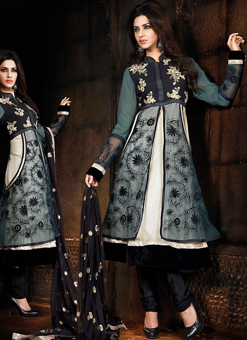 Black & Off White Salwar Kameez