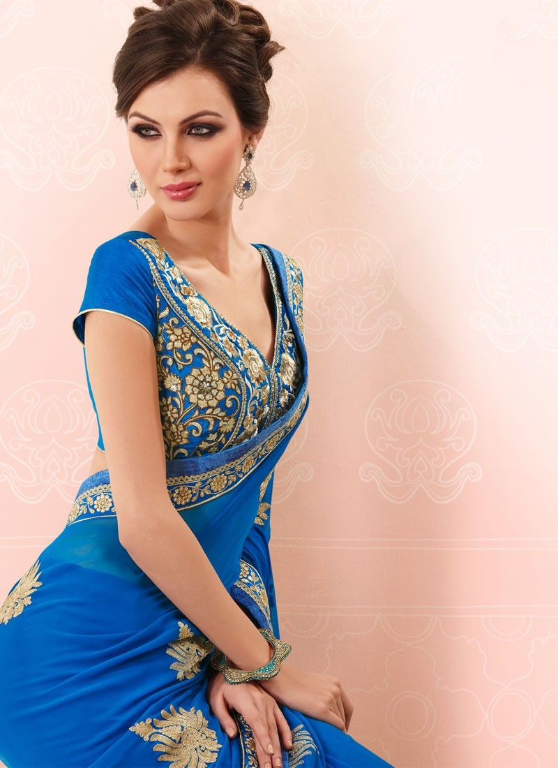Deep Blue Faux Georgette Saree