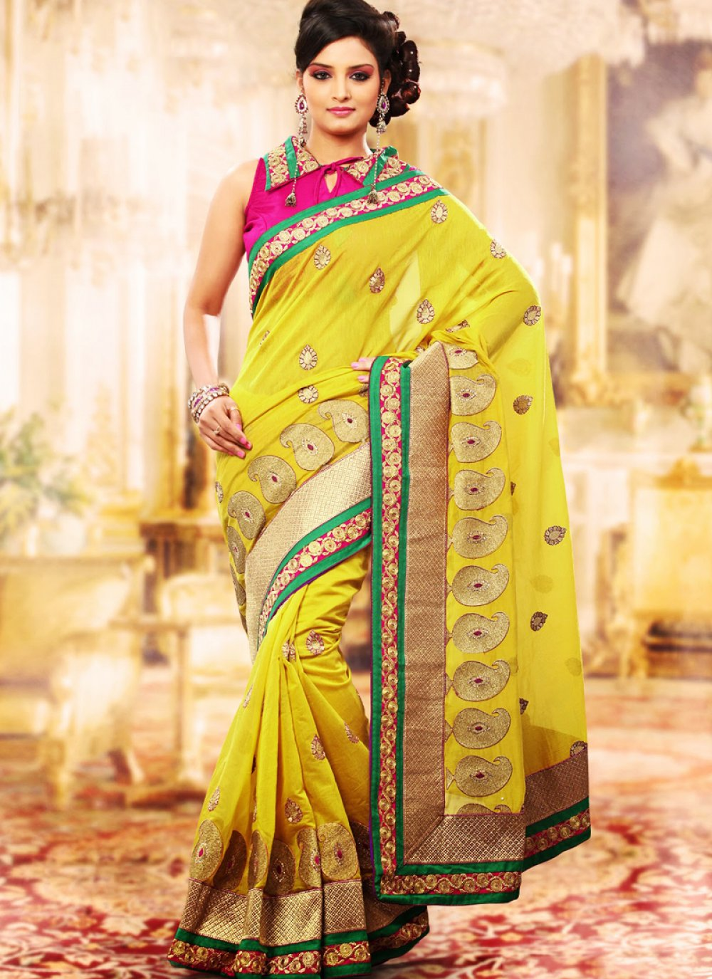 green Gold Color Embroidered Saree