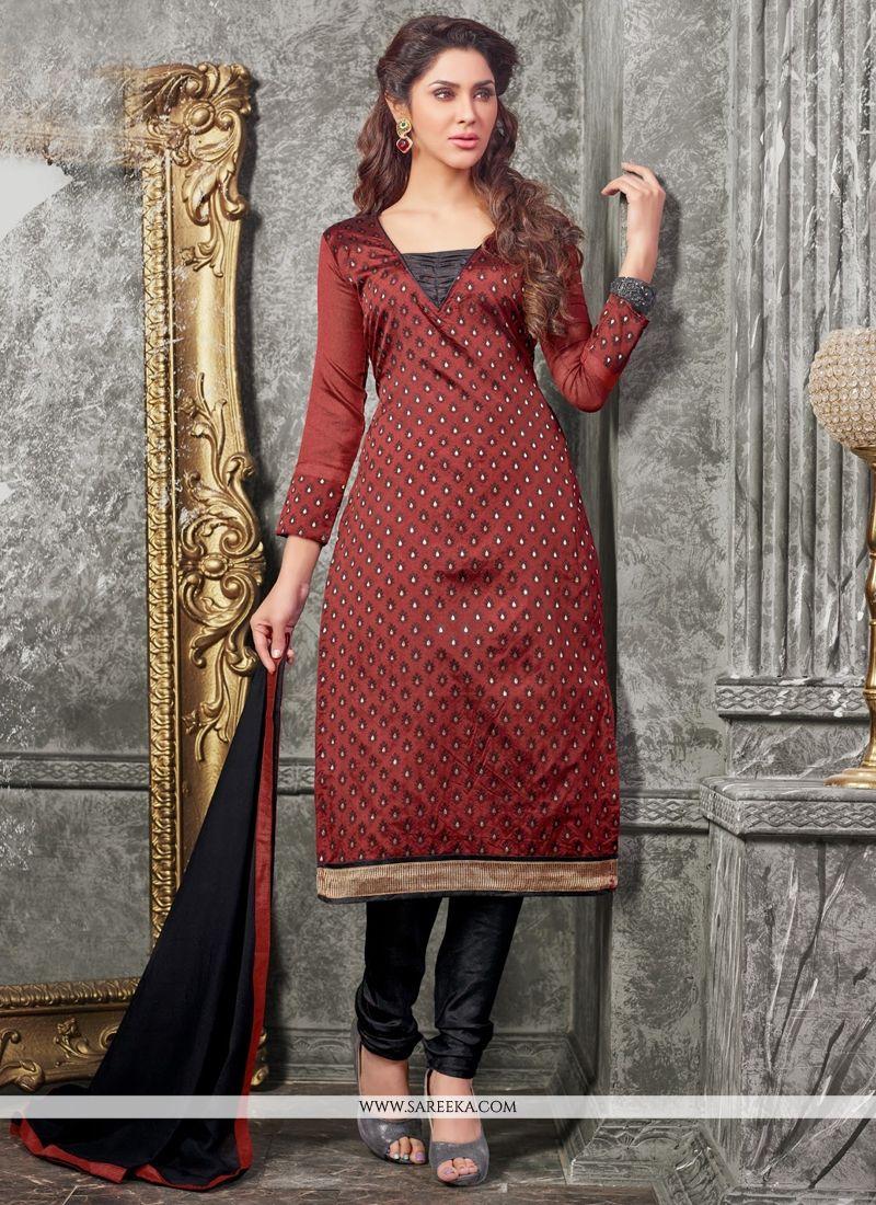 Lace Work Maroon Chanderi Churidar Designer Suit