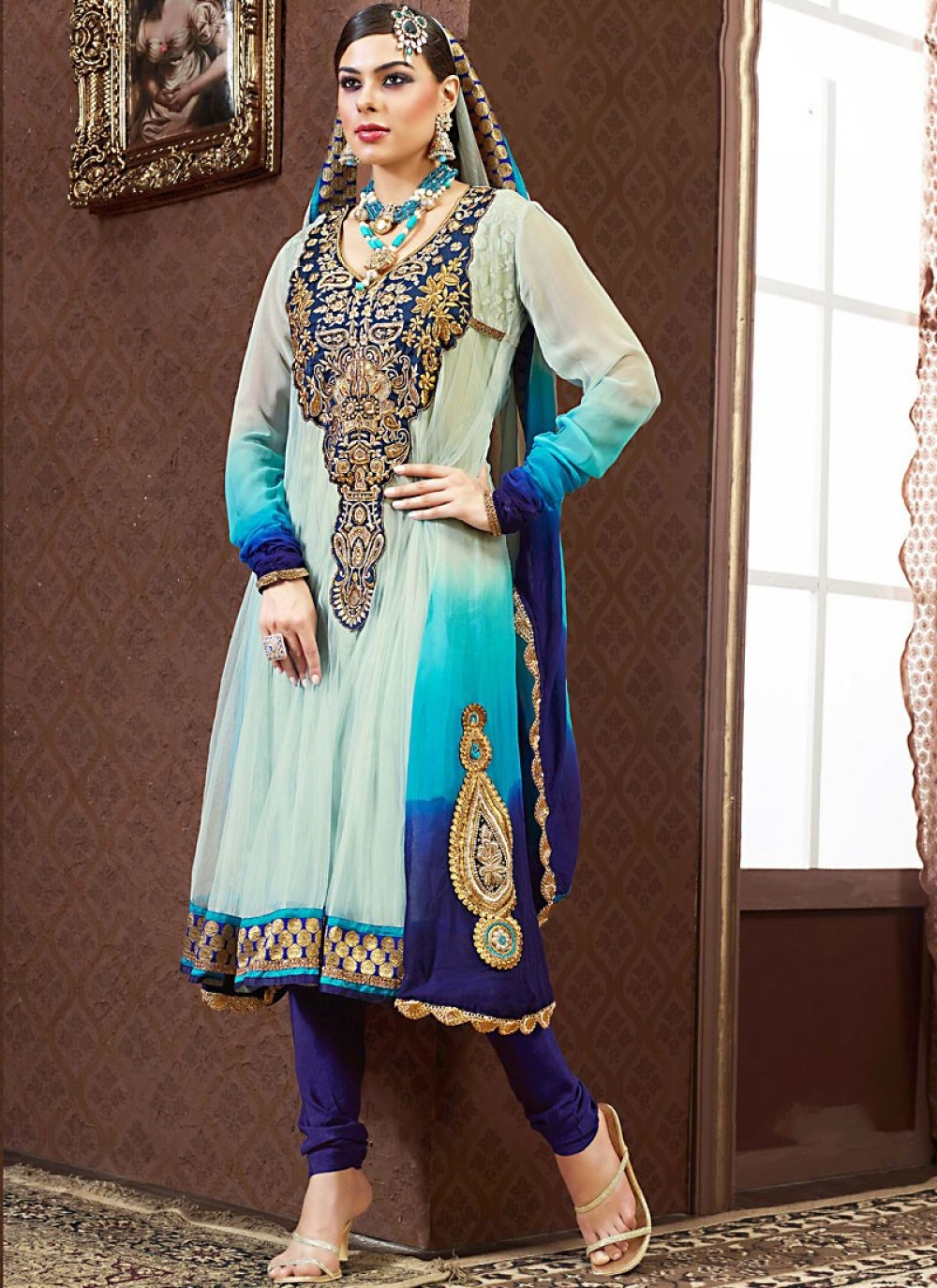Navy Blue, Tale Blue & White Anarkali Suit