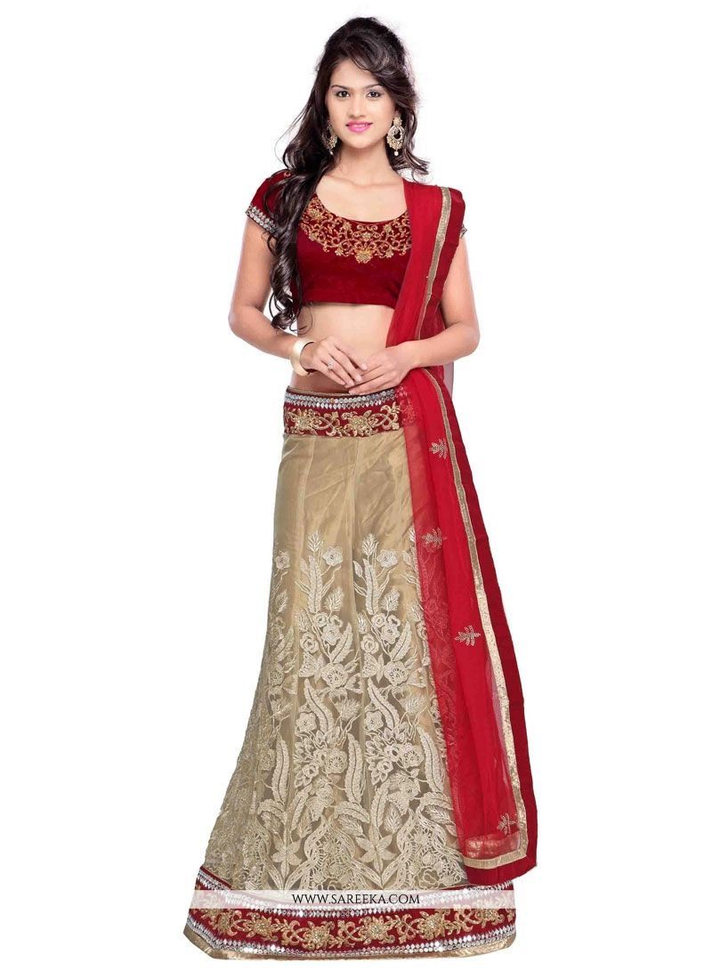 Net Red and Beige Resham Work A Line Lehenga Choli