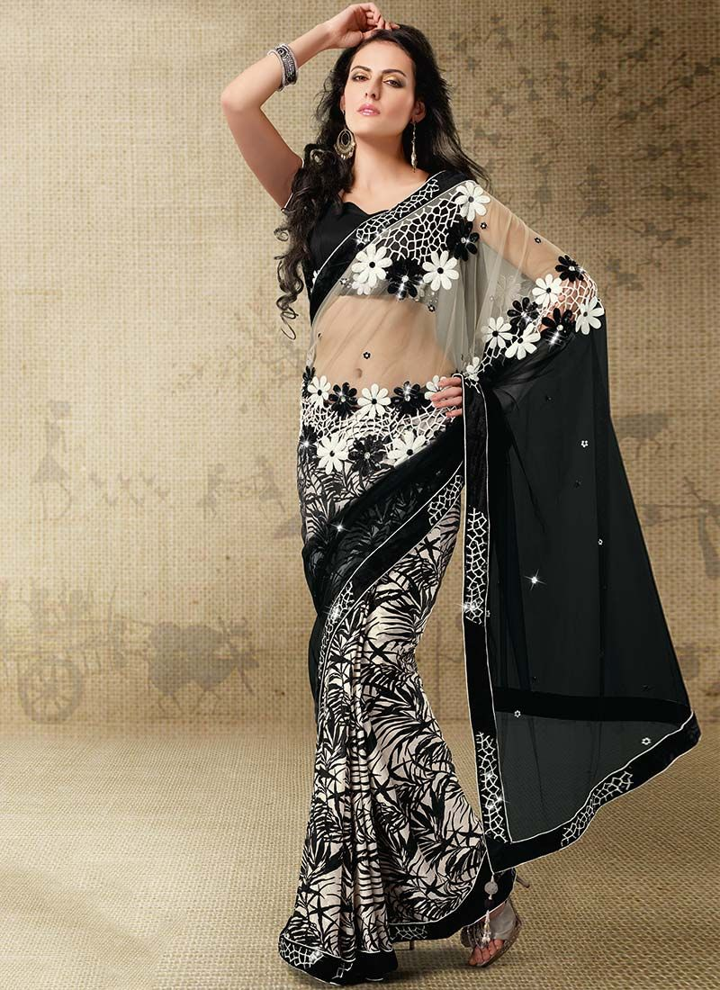 Off White And Black Georgette Saree