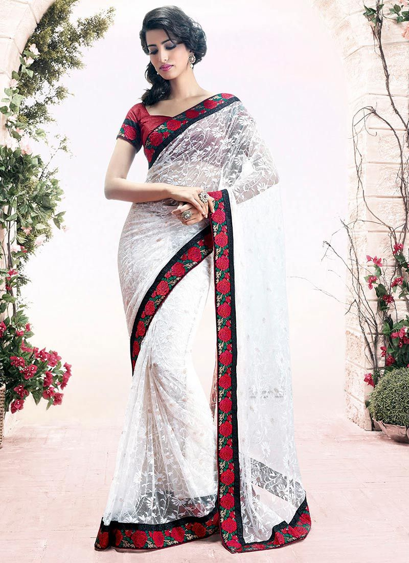 Off-White Resham Net Designer Saree