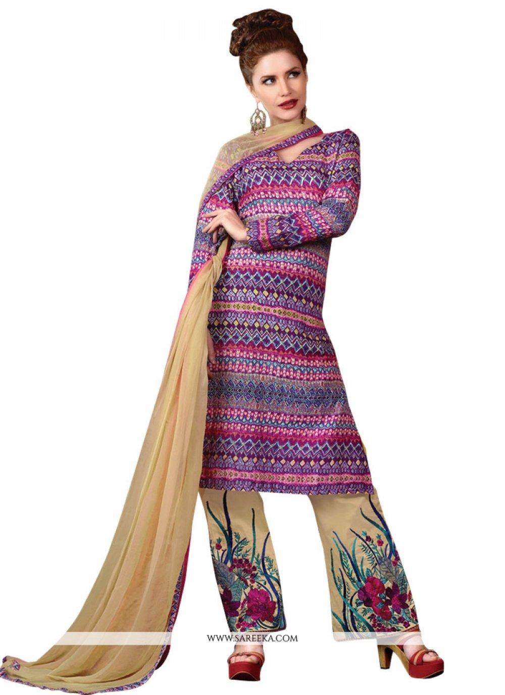 Print Work Multi Colour Designer Suit