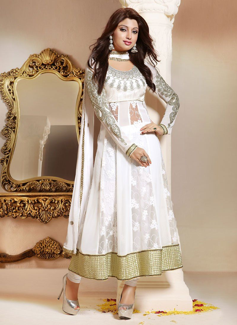White Patch Border Georgette Anarkali Suit