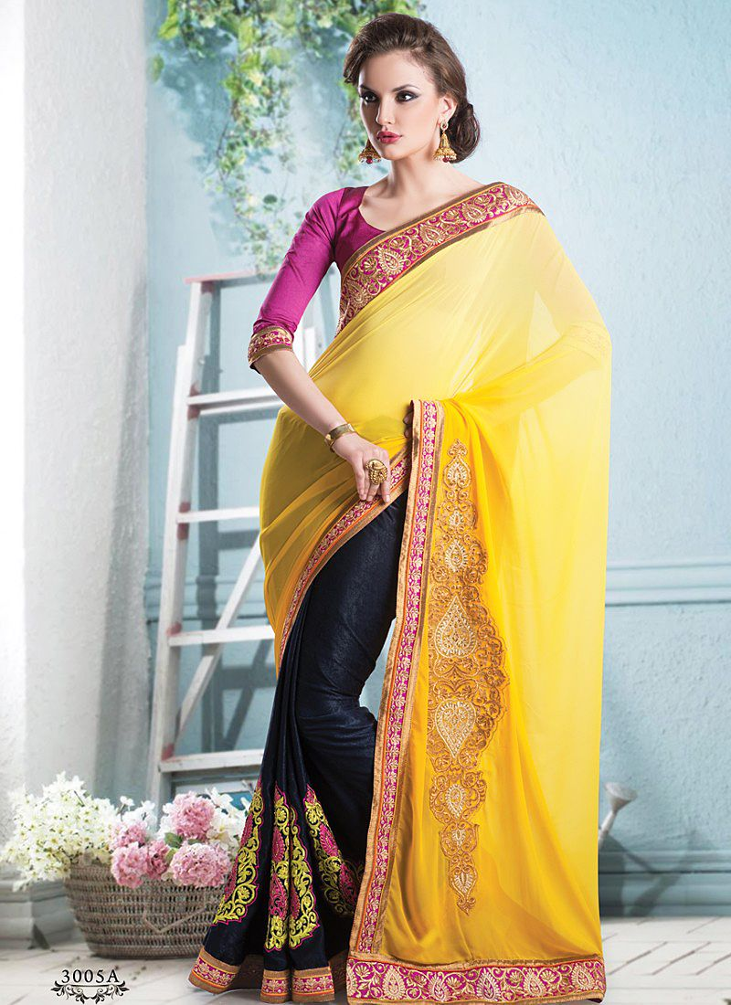 Yellow And Black Patch Border Work Half And Half Saree