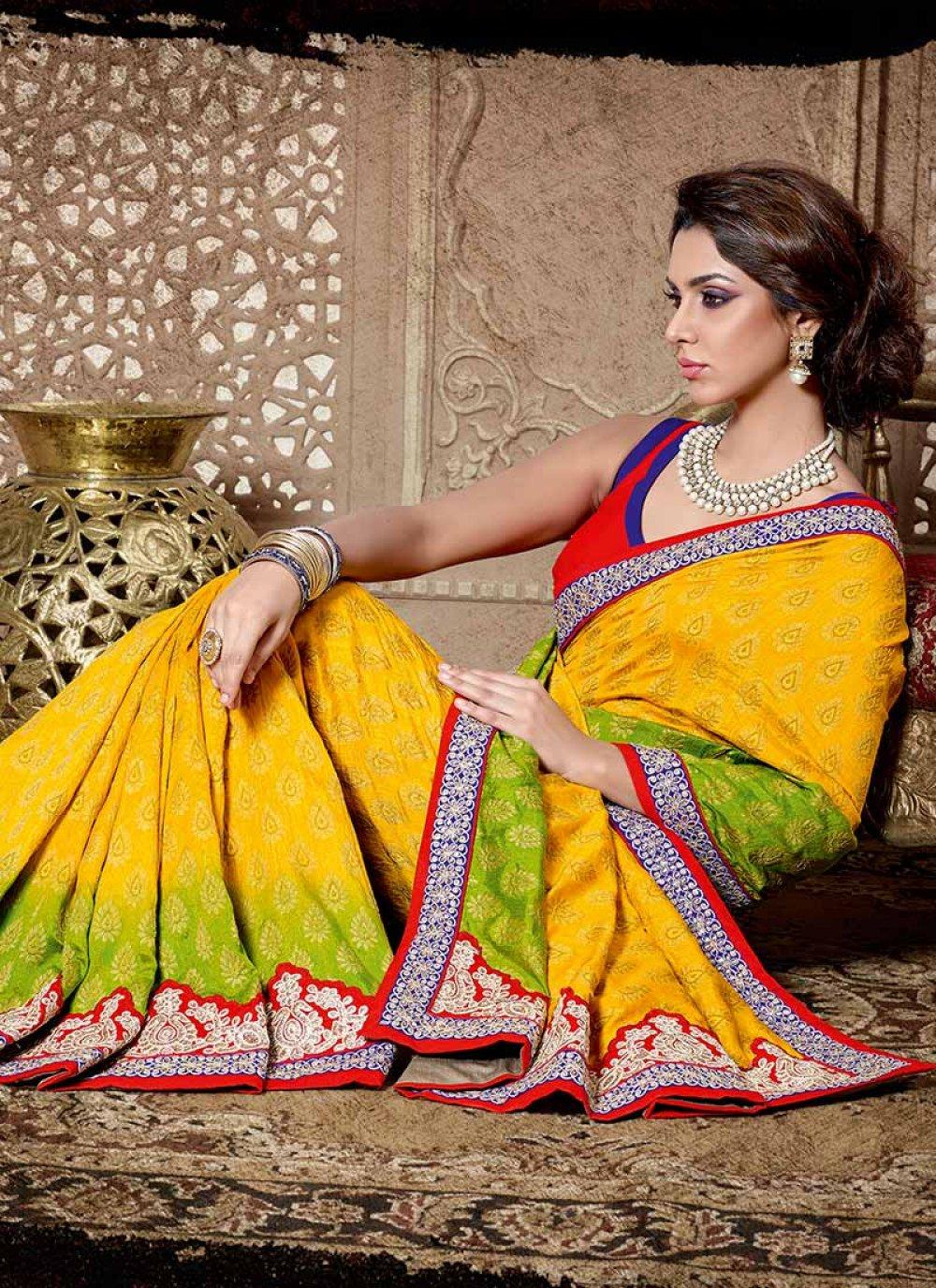 Yellow Cotton Jacquard Saree
