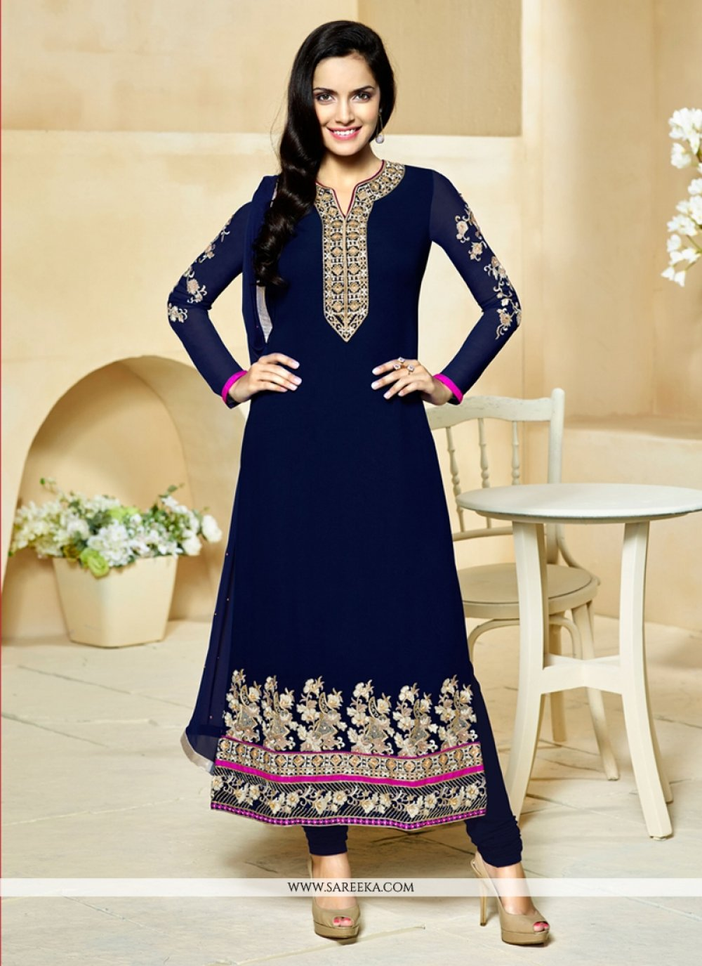 Blue Embroidered Work Georgette Churidar Designer Suit
