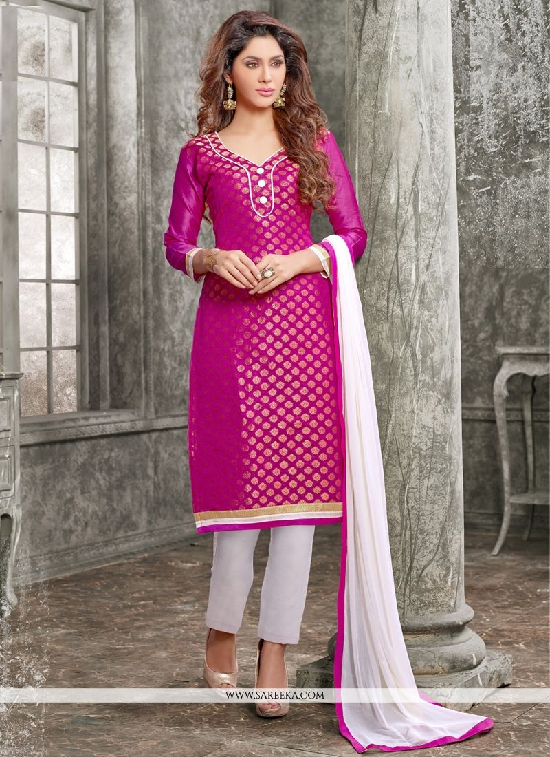Chanderi Hot Pink Churidar Designer Suit