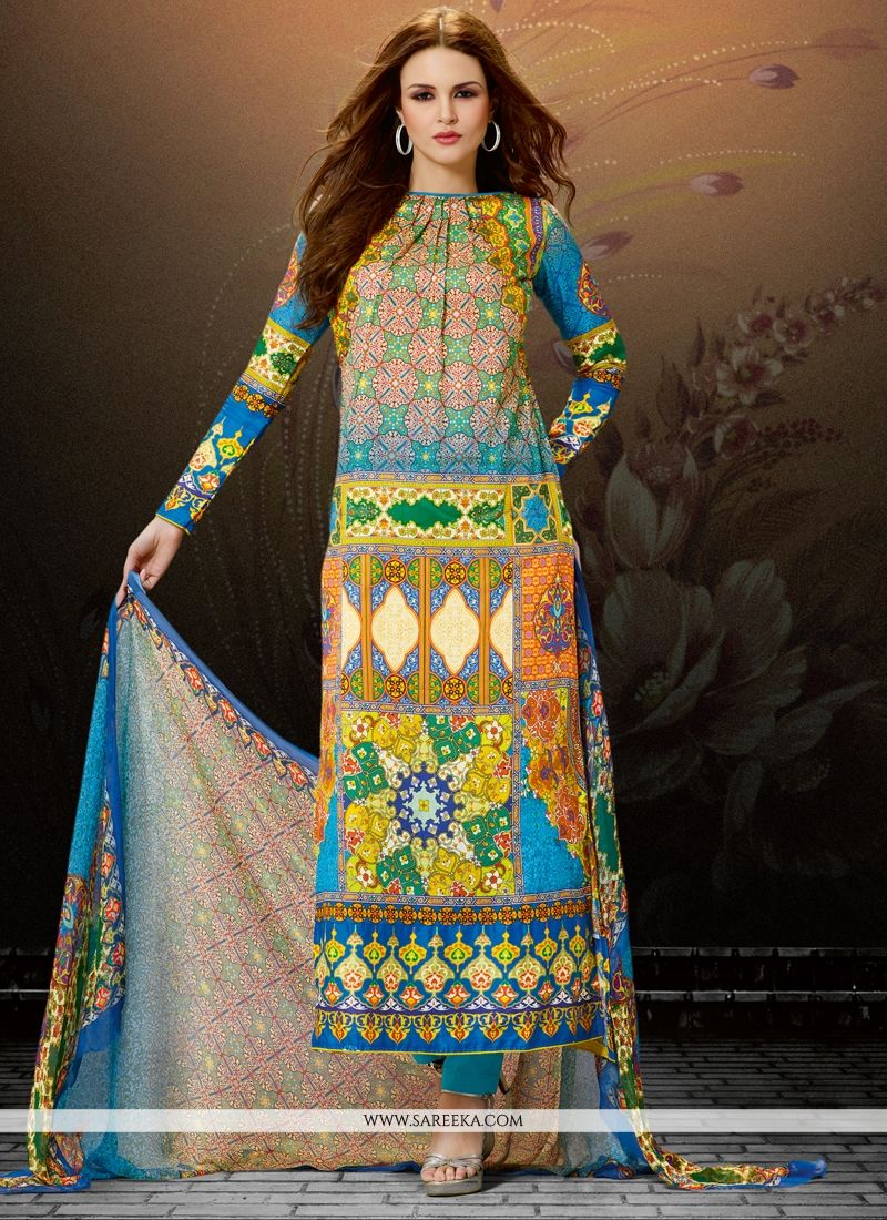 Digital Print Work Cotton Satin Designer Straight Salwar Kameez