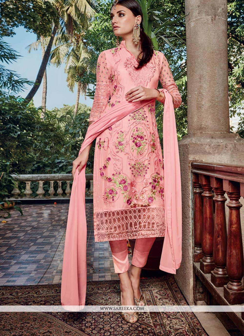 Lace Work Pink Pant Style Suit