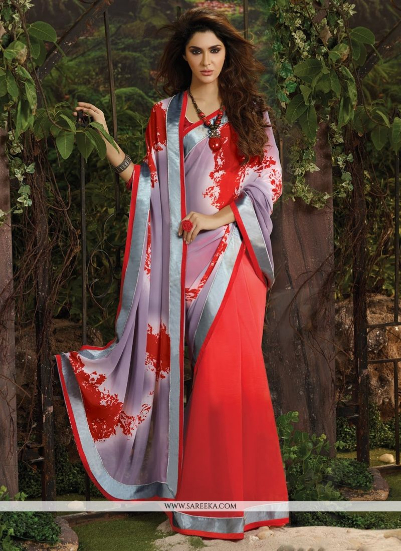 Lace Work Red Weight Less Casual Saree