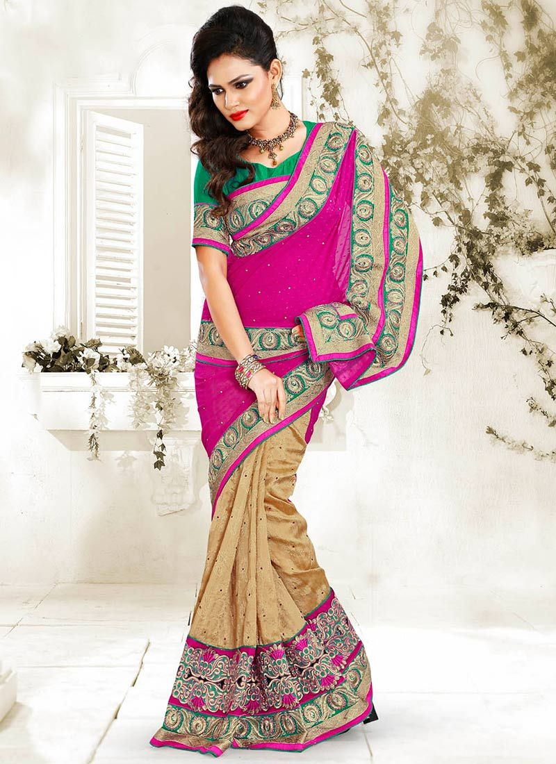 Beige And Pink Chiffon Saree