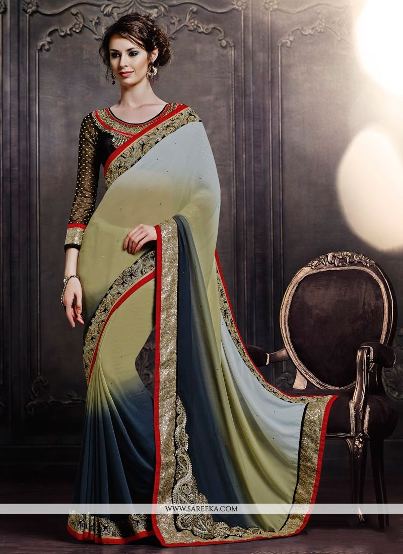 Cream and Grey Georgette Designer Saree